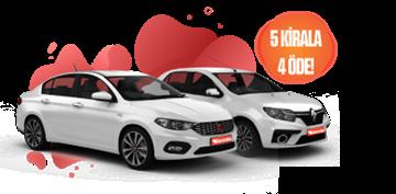 Fiat Egea, Renault Symbol veya benzeri 5 Gün Kirala 4 Gün Öde  Araç Kiralama Kampanyası