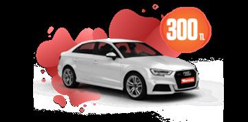 Audi A3 Sedan Benzinli Otomatik Günlük 300 TL Araç Kiralama Kampanyası