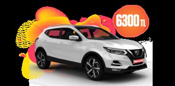 Nissan Qashqai  Dizel Otomatik ve benzeri, KDV Dahil Aylık Sabit 6.300 TL Araç Kiralama Kampanyası