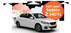 Peugeot 301 ve benzeri, aylık sadece 2.340 TL! Araç Kiralama Kampanyası