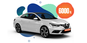 Renault Megane Dizel, Otomatik veya benzeri Aylık 6.000 TL Araç Kiralama Kampanyası