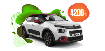 Citroen C3 otomatik ve benzinli aylık KDV dahil sadece 4.200 TL Araç Kiralama Kampanyası