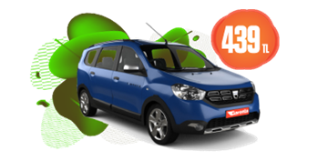 Dacia Lodgy Dizel, Manuel veya benzeri Günlük 439 TL Araç Kiralama Kampanyası