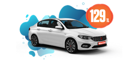 Fiat Egea Dizel, Manuel veya benzeri Günlük 129 TL Araç Kiralama Kampanyası