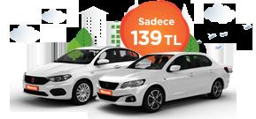 Peugeot 301 ve Fiat Egea Günlük 139 TL Araç Kiralama Kampanyası