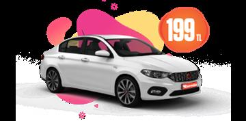 Fiat Egea Dizel, Otomatik Günlük Hafta İçi 199 TL, Hafta Sonu 219 TL Araç Kiralama Kampanyası