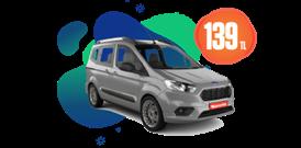 Ford Tourneo Courier Dizel, Manuel Hafta İçi ve Hafta Sonu Günlük Sadece 139 TL Araç Kiralama Kampanyası
