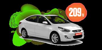 Hyundai Accent Dizel Otomatik ve benzeri, Hafta İçi 209 TL, Hafta Sonu 259 TL Araç Kiralama Kampanyası