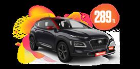 Hyundai Kona Dizel Otomatik ve benzeri Hafta İçi ve Hafta Sonu 289 TL Araç Kiralama Kampanyası