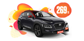 Hyundai Kona Benzinli, Otomatik Günlük  Sadece 269 TL Araç Kiralama Kampanyası