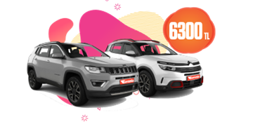Jeep Compass, Toyota C-HR, Volvo XC40 aylık 6300 TL Araç Kiralama Kampanyası