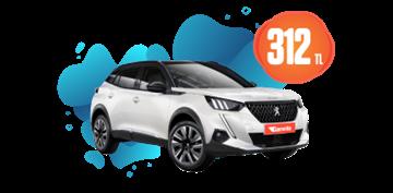 Peugeot 2008 Benzinli, Otomatik Hafta İçi 312 TL Hafta Sonu 1 TL Araç Kiralama Kampanyası