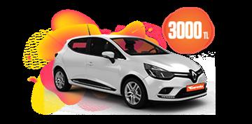 Renault Clio Benzinli Manuel veya benzeri, KDV Dahil Aylık Sadece 3.000 TL Araç Kiralama Kampanyası