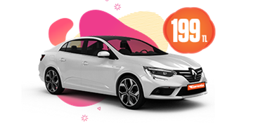 Renault Megane Dizel, Otomatik Hafta İçi ve Hafta Sonu Günlük 199 TL Araç Kiralama Kampanyası