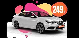Renault Megane Dizel, Otomatik Hafta İçi 249 TL Hafta Sonu Günlük 299 TL Araç Kiralama Kampanyası