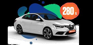 Renault Megane Dizel, Otomatik Hafta İçi 280 TL Hafta Sonu 1 TL Araç Kiralama Kampanyası