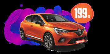 Renault Clio Benzinli, Otomatik Hafta İçi Günlük 199 TL, Hafta Sonu Günlük 249 TL! Araç Kiralama Kampanyası