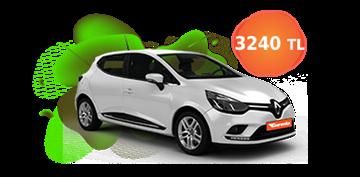 Renault Clio Dizel Manuel ve benzeri, KDV Dahil Aylık Sadece 3.240 TL Araç Kiralama Kampanyası