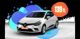 Renault Clio Dizel, Manuel Günlük Sadece 139 TL Araç Kiralama Kampanyası