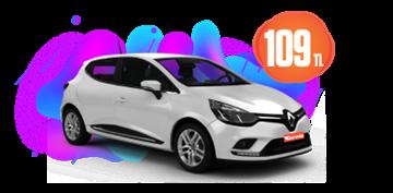 Renault Clio Benzinli, Manuel Hafta İçi ve Hafta Sonu Günlük 109 TL Araç Kiralama Kampanyası