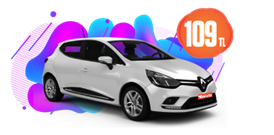 Renault Clio Benzinli, Manuel Günlük 109 TL Araç Kiralama Kampanyası