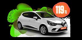Renault Clio Benzinli, Manuel Günlük Sadece 119 TL Araç Kiralama Kampanyası