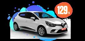 Renault Clio Benzinli, Manuel Günlük Sadece 129 TL Araç Kiralama Kampanyası