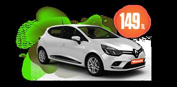 Renault Clio Benzinli, Manuel Günlük Hafta İçi 149 TL, Hafta Sonu 179 TL Araç Kiralama Kampanyası