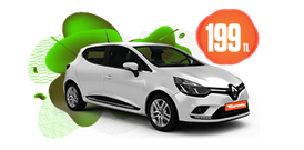 Renault Clio Dizel, Manuel Hafta İçi 199 TL, Hafta Sonu Günlük 229 TL Araç Kiralama Kampanyası