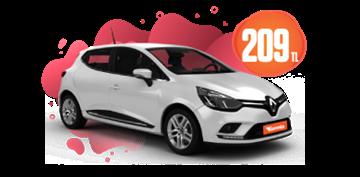 Renault Clio Benzinli, Manuel Hafta İçi Günlük 209 TL, Hafta Sonu Günlük 259 TL! Araç Kiralama Kampanyası