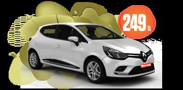 Renault Clio Dizel, Manuel Hafta İçi Günlük 249 TL, Hafta Sonu Günlük 299TL! Araç Kiralama Kampanyası