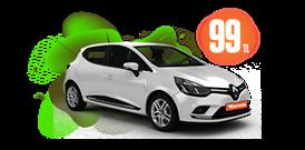 Renault Clio Benzinli, Manuel Günlük 99 TL Araç Kiralama Kampanyası