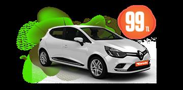 Renault Clio Benzinli, Manuel Hafta İçi ve Hafta Sonu Günlük 99 TL Araç Kiralama Kampanyası