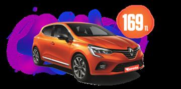 Renault Clio Benzinli, Otomatik Günlük Hafta İçi 169 TL, Hafta Sonu 219 TL Araç Kiralama Kampanyası
