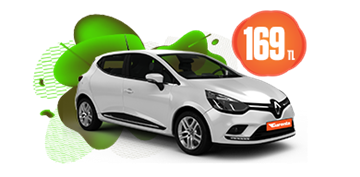 Renault Clio Dizel, Otomatik Hafta İçi ve Hafta Sonu Günlük 169 TL Araç Kiralama Kampanyası