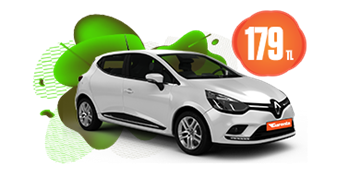 Renault Clio Benzinli, Otomatik Günlük Hafta İçi 179 TL, Hafta Sonu 229 TL Araç Kiralama Kampanyası