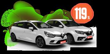 Renault Clio, Symbol ve Sport Tourer Hafta İçi ve Hafta Sonu Günlük 119 TL  Araç Kiralama Kampanyası