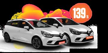 Renault Clio, Symbol ve Sport Tourer Hafta İçi ve Hafta Sonu Günlük 139 TL  Araç Kiralama Kampanyası