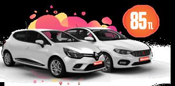 Renault Clio ve Fiat Egea Dizel, Manuel Günlük Sadece 85 TL Araç Kiralama Kampanyası
