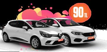 Renault Clio ve Fiat Egea Dizel, Otomatik Günlük Sadece 90 TL Araç Kiralama Kampanyası