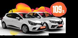 Renault Clio ve Clio Symbol Dizel, Manuel Günlük Sadece 109 TL Araç Kiralama Kampanyası