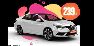 Renault Megane Dizel, Otomatik Hafta İçi Günlük  239 TL, Hafta Sonu Günlük 269 TL Araç Kiralama Kampanyası