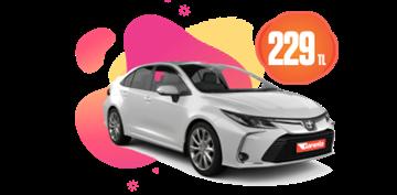 Toyota Corolla Hibrit, Otomatik Günlük Sadece 229 TL Araç Kiralama Kampanyası