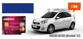 Maximum Kart'la Nissan Micra, Bir Harika! Araç Kiralama Kampanyası